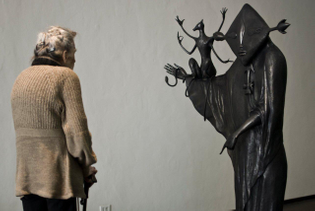 Leonora Carrington with one of her sculptures