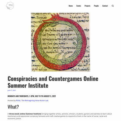 Conspiracies and Countergames Online Summer Institute - RiVAL