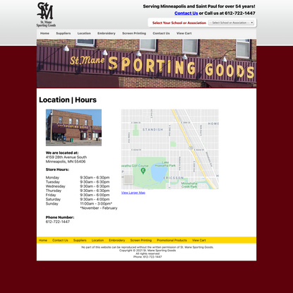 St. Manes Sporting Goods | Location | Hours | Driving Directions
