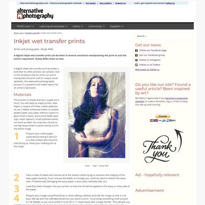 Inkjet wet transfer prints - AlternativePhotography.com