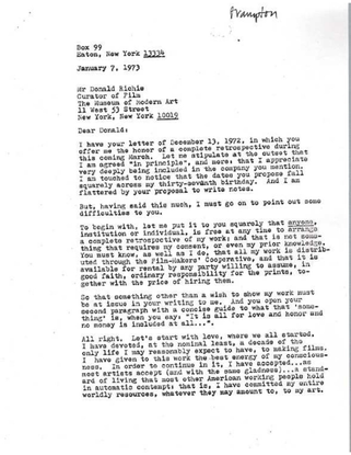 Hollis Frampton on Artist Compensation to MoMA – 1972