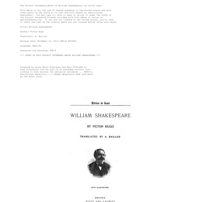 The Project Gutenberg eBook of William Shakespeare, by Victor Hugo.