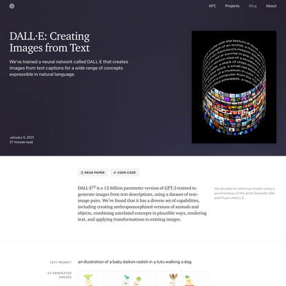 DALL·E: Creating Images from Text