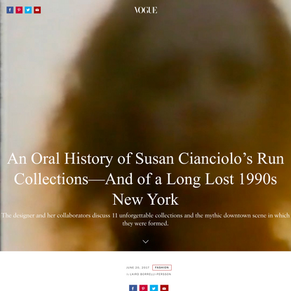An Oral History of Susan Cianciolo's Run Collections—And of a Long Lost 1990s New York