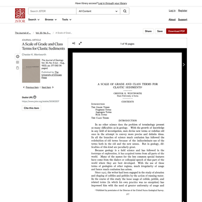 A Scale of Grade and Class Terms for Clastic Sediments on JSTOR