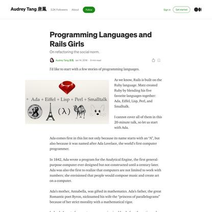 Programming Languages and Rails Girls