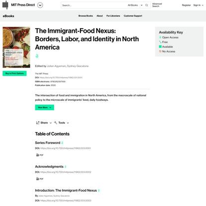 The Immigrant-Food Nexus: Borders, Labor, and Identity in North America | Books Gateway | MIT Press