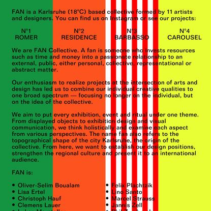 FAN Collective: N°1, N°2, N°3, N°4, etc.