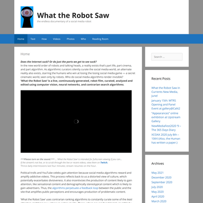 What the Robot Saw – the endless documentary of a social media robot