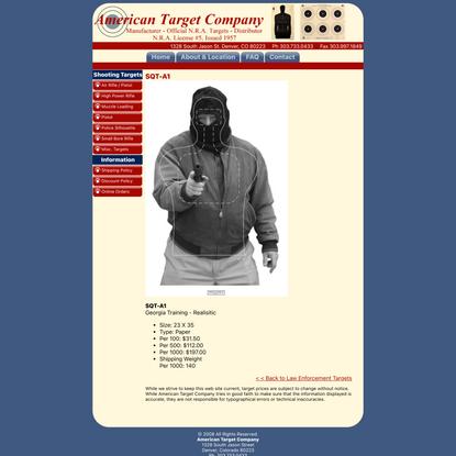 Georgia Law Enforcement Training Target - American Target Company