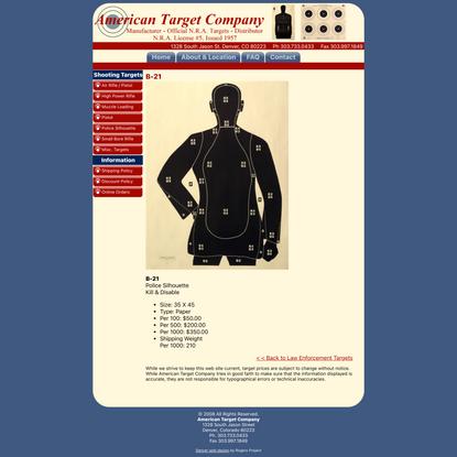 Law Enforcement Shooting Target B-21 - American Target Company