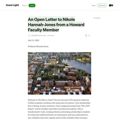 An Open Letter to Nikole Hannah-Jones from a Howard Faculty Member