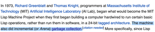 Lisp machine garbage collection