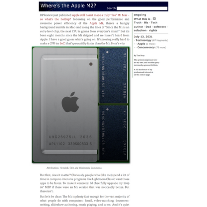 ongoing by Tim Bray · Where's the Apple M2?