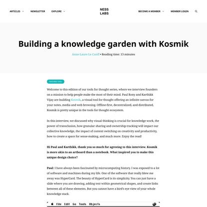 Building a knowledge garden with Kosmik