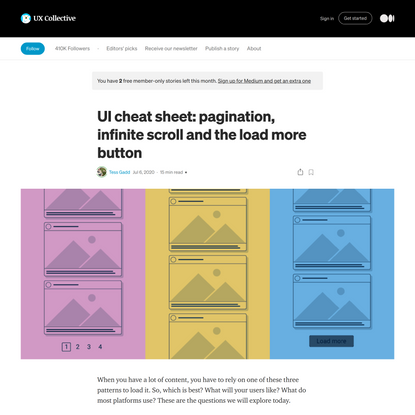 UI cheat sheet: pagination, infinite scroll and the load more button