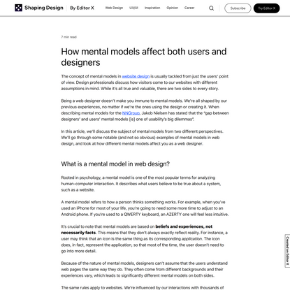 The Power of Mental Models in Web Design