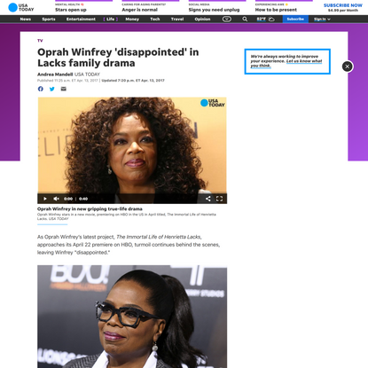 Oprah Winfrey 'disappointed' in Lacks family drama