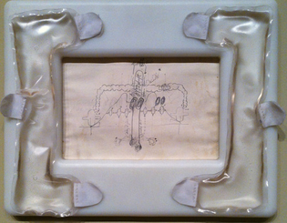 Matthew Barney, Stadium, 1991. Graphite on paper in internally lubricated plastic frame with gel pack and Velcro 15 ½ x 19 ½ inches. Photo by Larry Lamé.