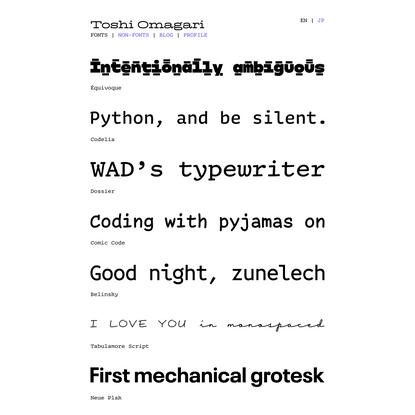 Toshi Omagari   Fonts
