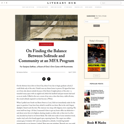 On Finding the Balance Between Solitude and Community at an MFA Program ‹ Literary  Hub