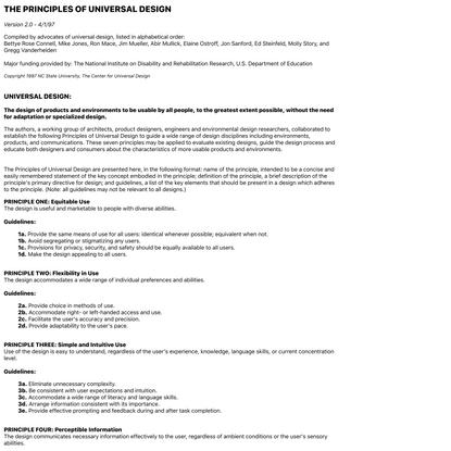 The Center for Universal Design - Universal Design Principles