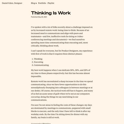 Thinking Is Work | Daniel Eden, Designer