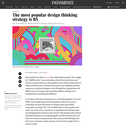 The most popular design thinking strategy is BS