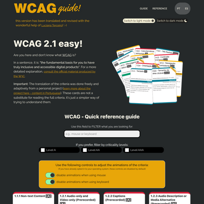 WCAG - Quick reference guide
