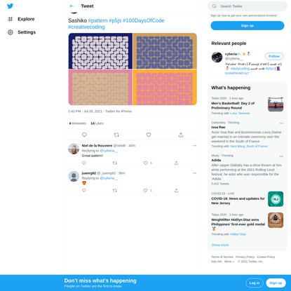 "cyberia🌬✨☃️ on Twitter: ""Sashiko #pattern #p5js #100DaysOfCode #creativecoding pic.twitter.com/Cz9qGtPplb / Twitter"""