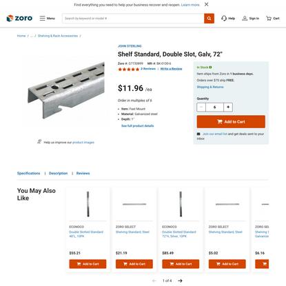 John Sterling BK-0100-6 $11.96 Shelf Standard, Double Slot, Galv, 72″ | Zoro.com