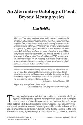An Alternative Ontology of Food: Beyond Meataphysics Lisa Heldke