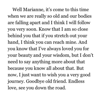 Leonard Cohen to Marianne