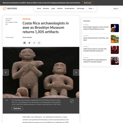 Costa Rica archaeologists in awe as Brooklyn Museum returns 1,305 artifacts | Reuters