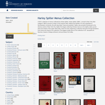 Harley Spiller Menus Collection   Digital Collections