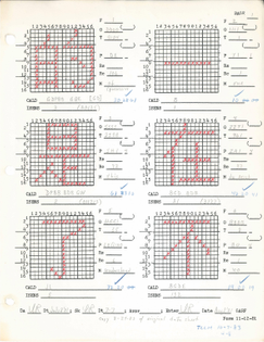 Draft bitmaps from the Sinotype III Chinese font, prepared prior to digitization.