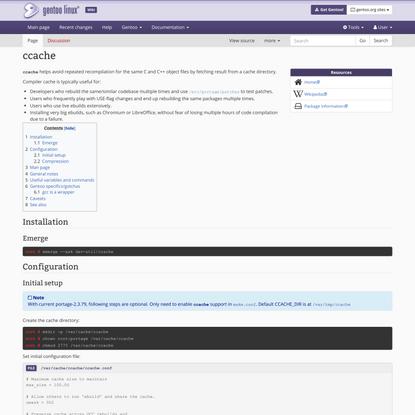 ccache - Gentoo Wiki