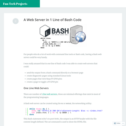 A Web Server in 1 Line of Bash Code