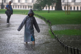 Flooded path in St James's Park