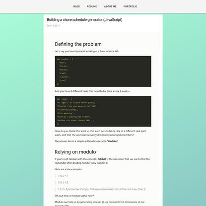 Building a chore schedule generator (JavaScript)
