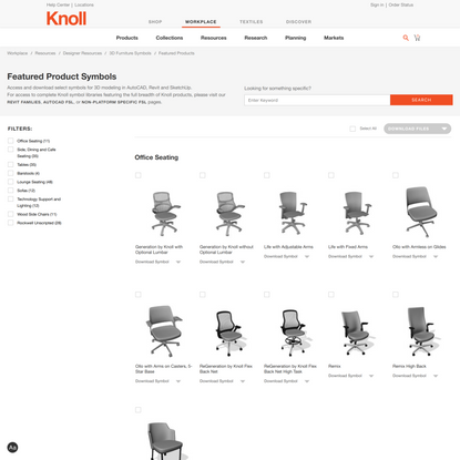 Furniture Symbol Library | Resources | Knoll