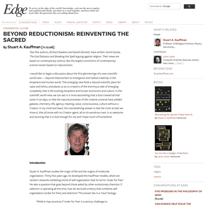BEYOND REDUCTIONISM: REINVENTING THE SACRED | Edge.org