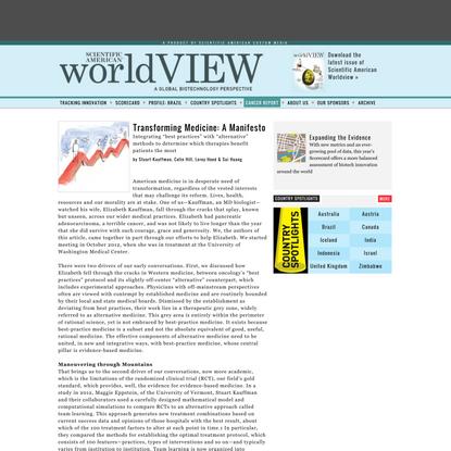 TransformingMedicine: A Manifesto : worldVIEW