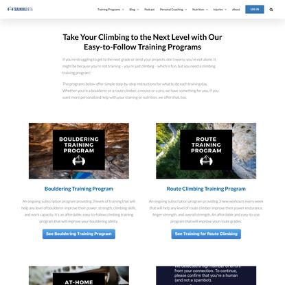 Rock Climbing Training Program - Training for Climbing