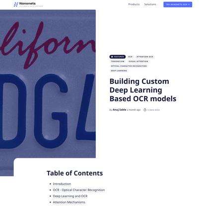 Building Custom Deep Learning Based OCR models