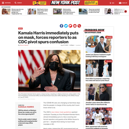 Kamala Harris immediately puts on mask, forces reporters to as CDC pivot spurs confusion