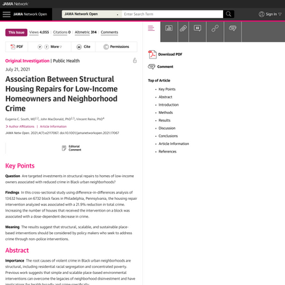 Association Between Structural Housing Repairs for Low-Income Homeowners and Neighborhood Crime   Health Disparities   JAMA Network Open   JAMA Network