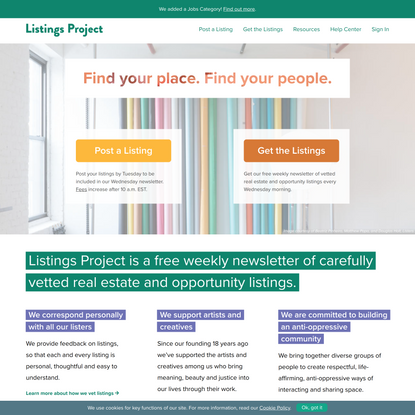 Listings Project: Find Your Place. Find Your People.   Listings Project