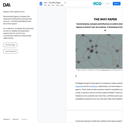 Decentralized Agency - The Why Paper