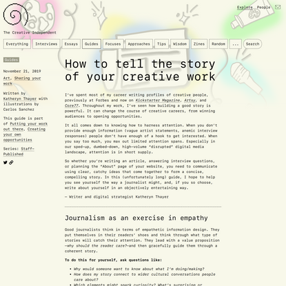 How to tell the story of your creative work